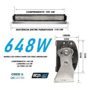 BARRA LED CURVA 648W LENTE 8 D LED CREE – TROLLER